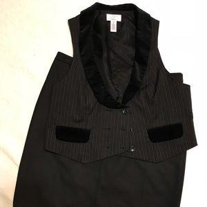Loft black vest and black pencil skirt set
